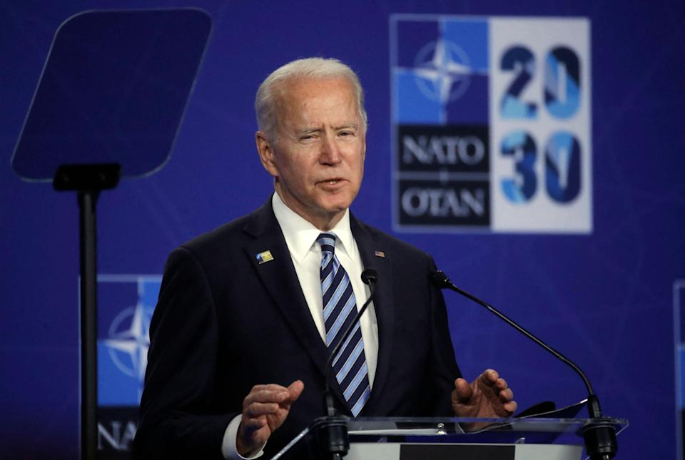 US President Joe Biden speaks during a press conference after the NATO summit at the North Atlantic Treaty Organization (NATO) headquarters in Brussels, on June 14, 2021 (POOL/AFP via Getty Images)