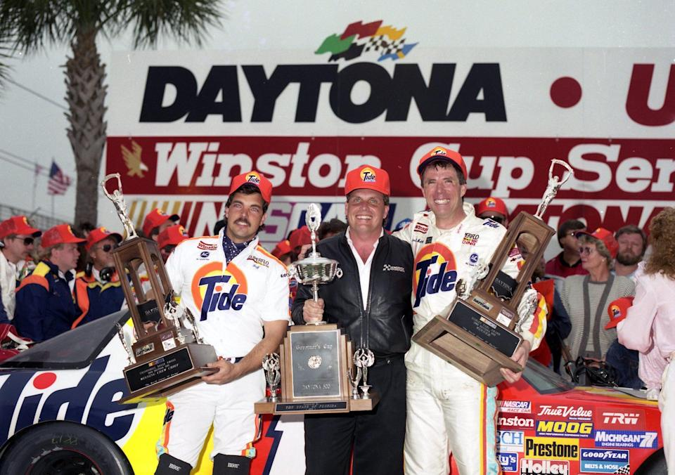<em>Darrell Waltrip celebrates his 1989 Daytona 500 victory with crew chief Jeff Hammond and car owner Rick Hendrick (Dozier Mobley/Getty Images).</em>
