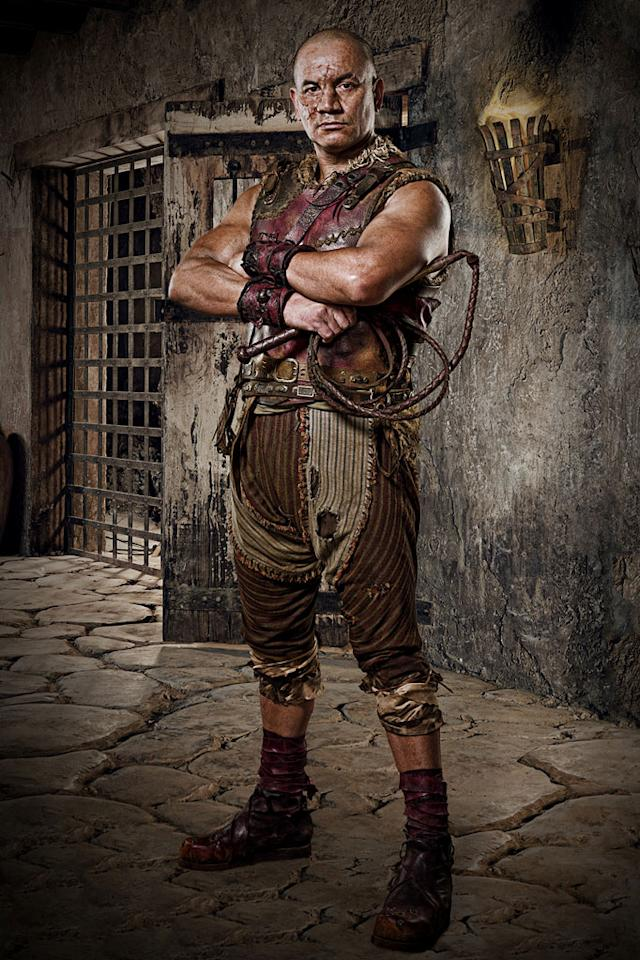"Temuera Morrison as Old Doctore in ""Spartacus: Gods of the Arena."""