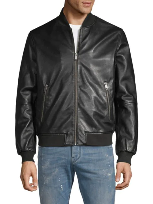 Saks Fifth Avenue Full-Zip Leather Bomber Jacket