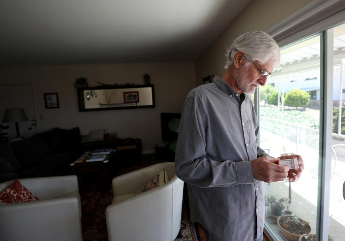 Retired family physician and trial participant Dewayne Nash, who received a placebo for 18 months before getting the experimental Alzheimer's drug aducanumab for seven months, at his home in Santa Barbara Calif., May 26, 2021. (Daniel Dreifuss/The New York Times)