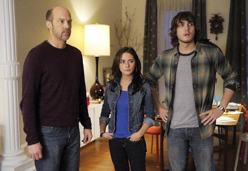 "FILE - This undated file photo provided by ABC shows Anthony Edwards, left, Addison Timlin and Scott Michael Foster in a scene from ""Zero Hour."" Edwards plays Hank Galliston, a magazine publisher who descends into an historical mystery after his wife is kidnapped. The first of 13 filmed episodes reached 6.4 million people and did particularly poorly among the youthful demographic ABC targets. The second episode was down to 5.39 million viewers, the third 5.05 million, and then ABC pulled the plug. (AP Photo/ABC, Phillippe Bosse, File)"