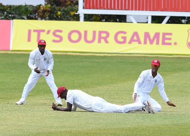Kraigg Brathwaite's defiance and more inclement weather ensured a draw on the final day of the second Test between the West Indies and Sri Lanka at the Darren Sammy Stadium in St Lucia on Monday (AFP Photo/Randy Brooks)