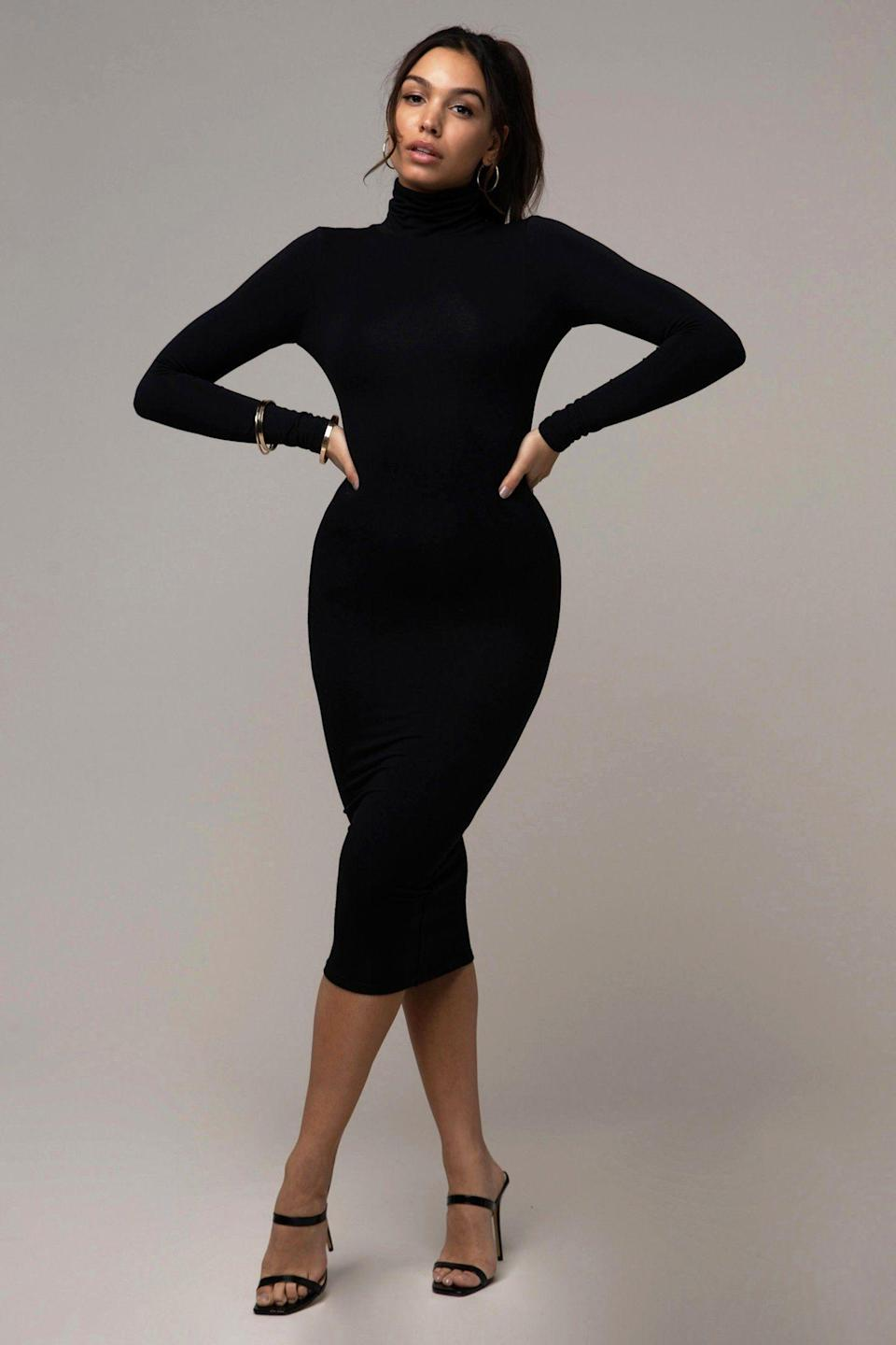 """<p><strong>Reona</strong></p><p>reona.ca</p><p><strong>$165.00</strong></p><p><a href=""""https://www.reona.ca/collections/dresses/products/turtleneck-dress-black"""" rel=""""nofollow noopener"""" target=""""_blank"""" data-ylk=""""slk:Shop Now"""" class=""""link rapid-noclick-resp"""">Shop Now</a></p><p>Everyone needs a turtleneck dress in their wardrobe. The two layers of fabric not only offer support, but also a comfortable form-fitting look. </p>"""
