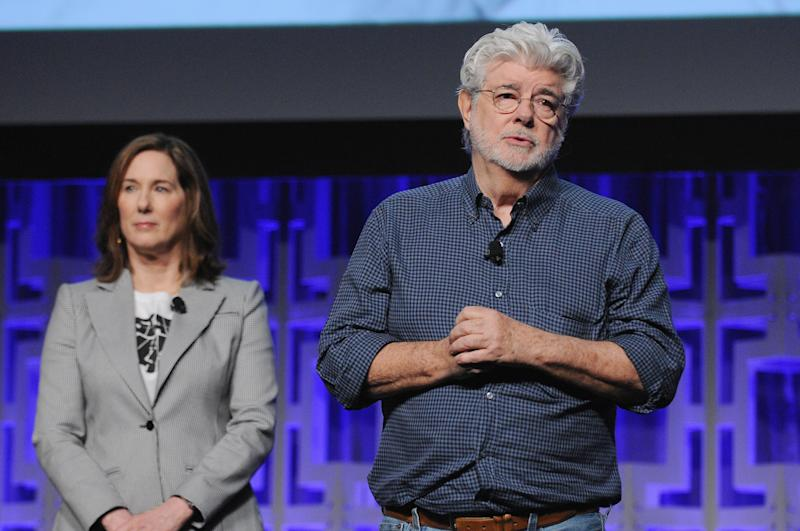 ORLANDO, FL - APRIL 13: Kathleen Kennedy and George Lucas attend the 40 Years of Star Wars panel during the 2017 Star Wars Celebrationat Orange County Convention Center on April 13, 2017 in Orlando, Florida. (Photo by Gerardo Mora/Getty Images for Disney)
