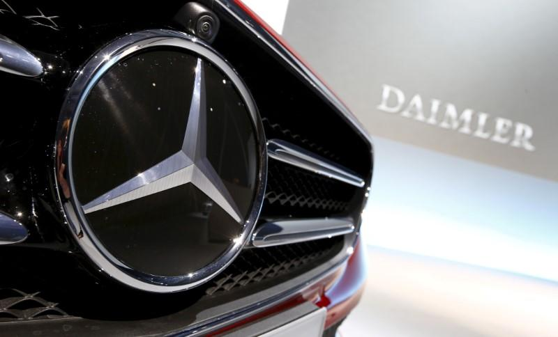 FILE PHOTO: File photo of Mercedes-Benz logo pictured before company's annual news conference in Stuttgart