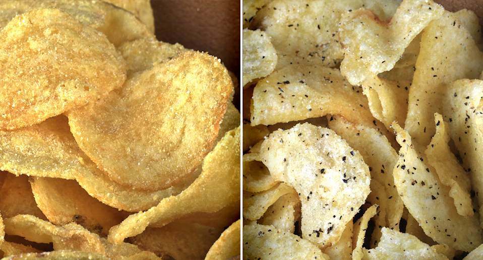 Two photos of different types of chips.