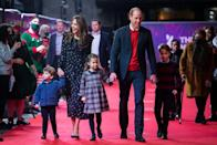 """<p>The Cambridges made a <a href=""""https://www.townandcountrymag.com/society/tradition/a34945223/prince-george-princess-charlotte-louis-london-palladium-appearance/"""" rel=""""nofollow noopener"""" target=""""_blank"""" data-ylk=""""slk:surprise red carpet appearance"""" class=""""link rapid-noclick-resp"""">surprise red carpet appearance</a> at the London Palladium for a special performance of the pantomime <em>Pantoland</em> being held for an audience of frontline workers and their families. </p>"""