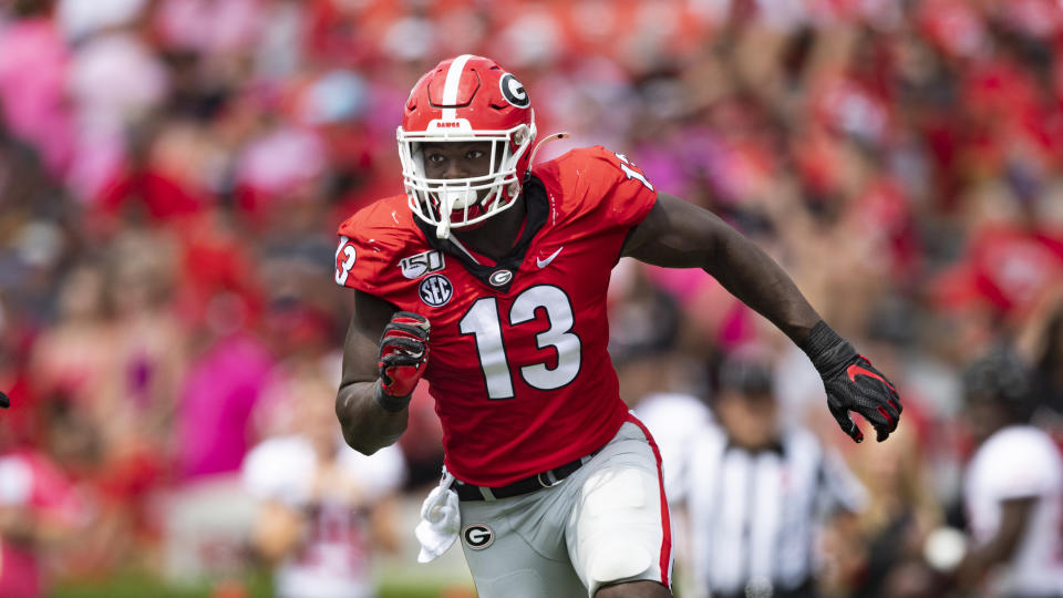 Georgia pass rusher Azeez Ojulari is undersized but disruptive. (AP Photo/John Amis)