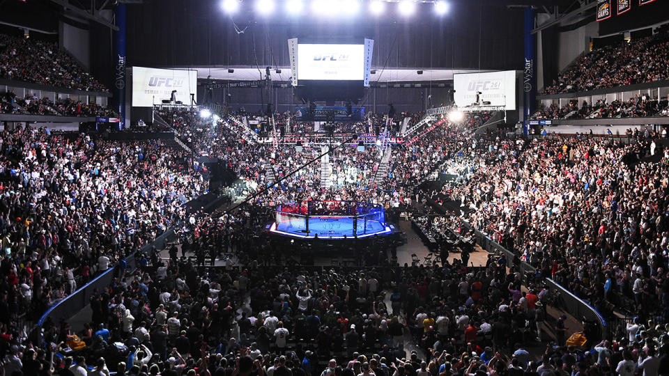 A general view of the Octagon, pictured here at UFC 261 in Florida.