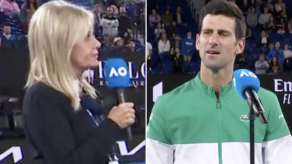 The reporter's question to Novak Djokovic sparked an angry response. Image: Channel Nine