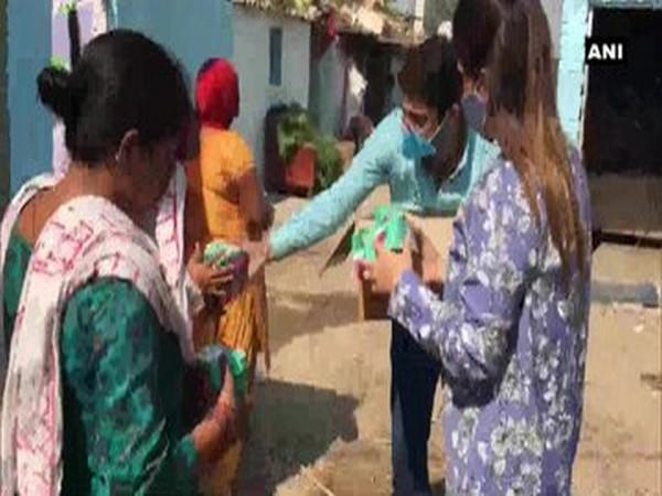 Group of CAs distribute sanitary napkins to underprivileged women in Chandigarh on the occasion of Dussehra. Photo/ANI