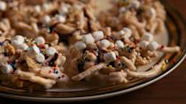 """<p>No-bake haystacks are a serious lifesaver when West Virginians are caught up in the holiday rush. Whether they opt for chocolate, butterscotch or peanut butter, these crunchy mounds are always favorites. Change it up by making these fun Buddy The Elf—inspired cookies.</p><p>Get the recipe from <a href=""""https://www.delish.com/cooking/recipe-ideas/recipes/a50400/buddy-the-elf-cookies-recipe/"""" rel=""""nofollow noopener"""" target=""""_blank"""" data-ylk=""""slk:Delish"""" class=""""link rapid-noclick-resp"""">Delish</a>.</p>"""