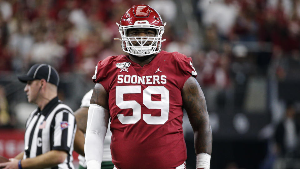 Oklahoma offensive tackle Adrian Ealy could see his draft stock rise with another strong season. (AP Photo/Brandon Wade)