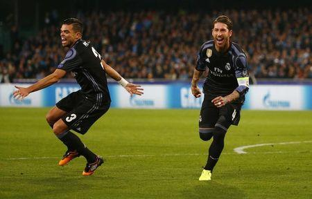 Real Madrid's Sergio Ramos celebrates scoring their second goal