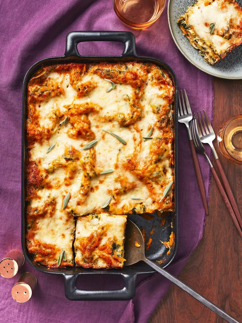"""<p><strong>Recipe: <a href=""""https://www.southernliving.com/recipes/butternut-squash-lasagna"""" rel=""""nofollow noopener"""" target=""""_blank"""" data-ylk=""""slk:Butternut Squash Lasagna"""" class=""""link rapid-noclick-resp"""">Butternut Squash Lasagna</a></strong></p> <p>Give crowd-pleasing lasagna a dose of warm autumnal flair by using mashed butternut squash between layers of pasta and all the cheese. </p>"""