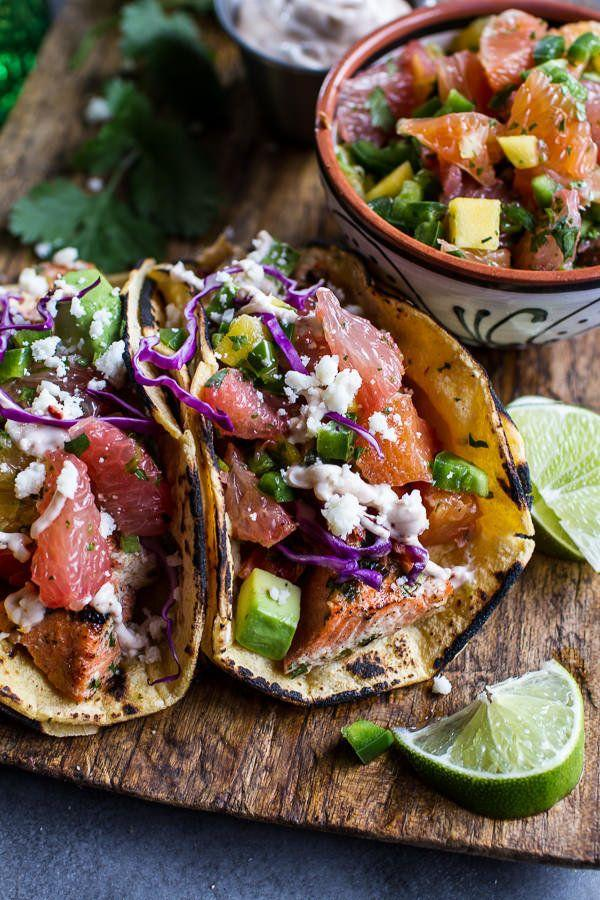 """<strong>Get the <a href=""""http://www.halfbakedharvest.com/cuban-fish-tacos-citrus-mango-slaw-chipotle-lime-crema/"""" target=""""_blank"""">Cuban Salmon Tacos with Citrus Mango Slaw recipe</a> from Half Baked Harvest</strong>"""