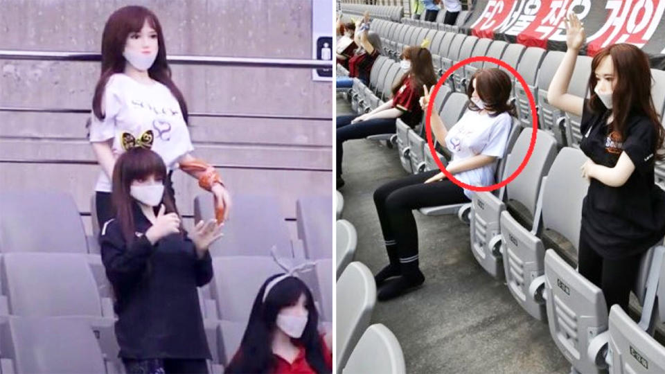 The sex dolls, pictured here in the stands at the FC Seoul match.