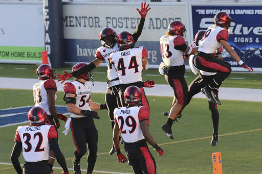 San Diego State players celebrate an interception late into the second half of an NCAA college football game against Nevada, Saturday, Nov. 21, 2020, Reno, Nev. (AP Photo/Lance Iversen)
