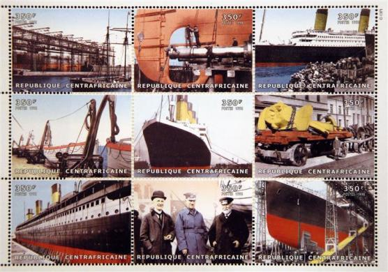 ommemorative Titanic stamps from Central African Republic, part of a collection of enthusiast Kenneth Mascarenhas.