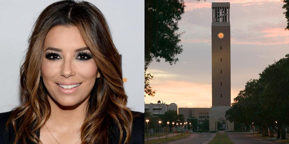 """<p><strong>Texas A&M University </strong></p><p>Longoria received her Bachelor of Science in kinesiology at Texas A&M University-Kingsville. She <a href=""""http://www.imdb.com/name/nm0519456/bio"""" rel=""""nofollow noopener"""" target=""""_blank"""" data-ylk=""""slk:later earned a Masters"""" class=""""link rapid-noclick-resp"""">later earned a Masters</a> in Chicano Studies from California State University, Northridge. She presented her thesis on """"Success STEMS From Diversity: The Value of Latinas in STEM Careers.""""<br></p>"""