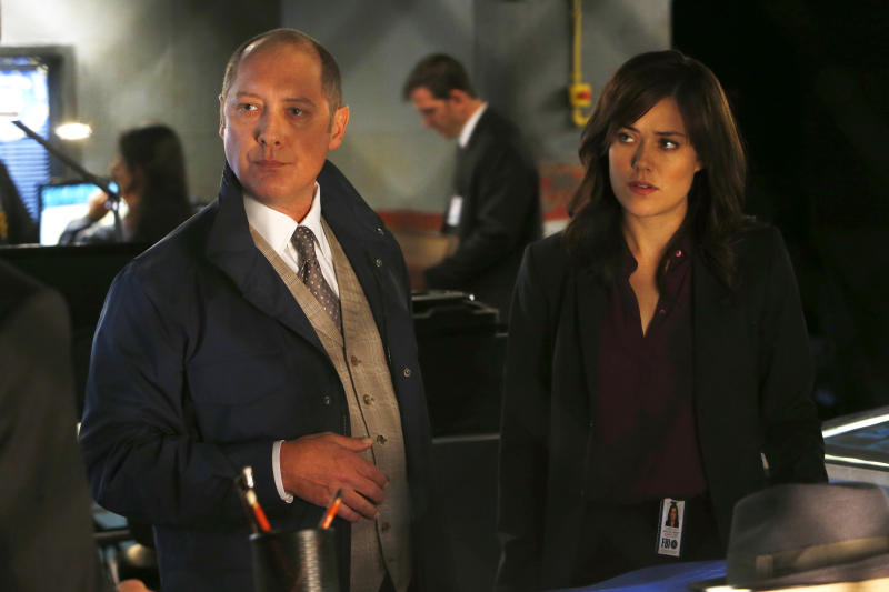 "This photo released by NBC shows James Spader, left, as Raymond ""Red"" Reddington, and Megan Boone as Elizabeth Keen, in ""Wujing"" Episode 102, of NBC's ""The Blacklist."" The series airs Mondays at 10/9 CDT on NBC. (AP Photo/NBC, Will Hart)"