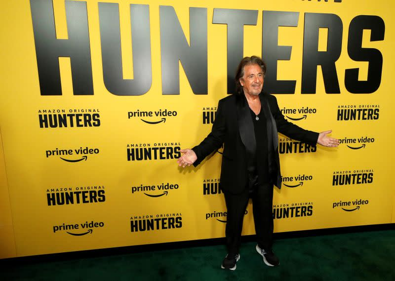 "Cast member Pacino poses at a premiere for the television series ""Hunters"" in Los Angeles"
