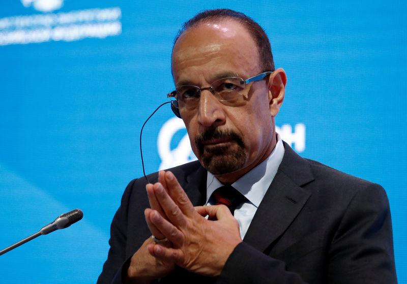 FILE PHOTO: Saudi Energy Minister al-Falih attends a session of the Russian Energy Week forum in Moscow