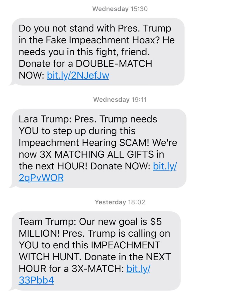 The Trump campaign is fundraising over the impeachment inquiry.
