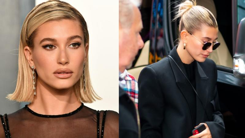 Hailey Bieber's off-duty style features these gold hoops by Jennifer Fisher. (Images via Getty Images)