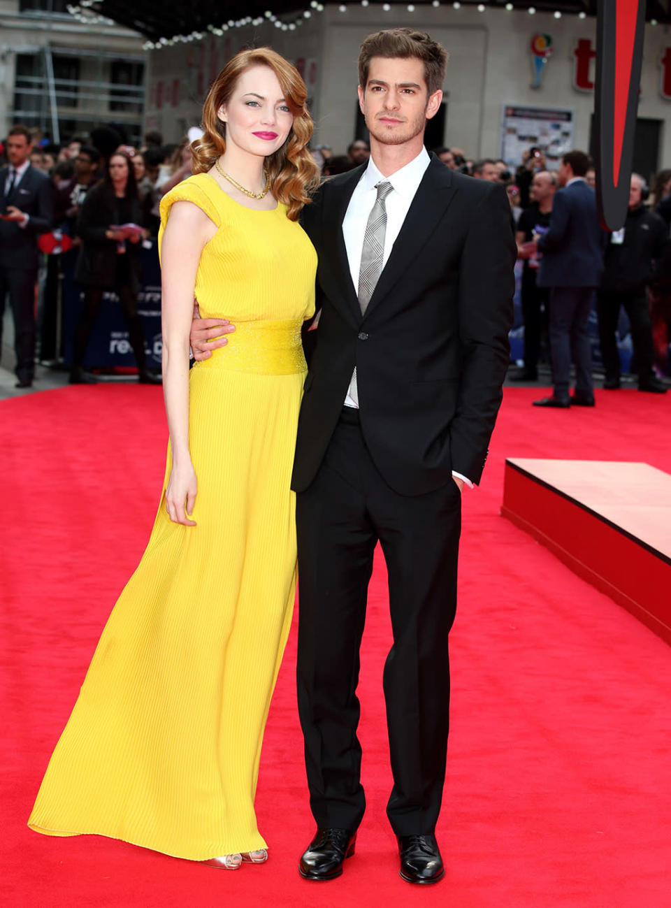 <p>Stone and Garfield, who became an item after teaming for the first installment, return for <em>The Amazing Spider-Man 2</em> in May 2014. Their four-year relationship would end less than a year later. (Photo: Mike Marsland/WireImage) </p>