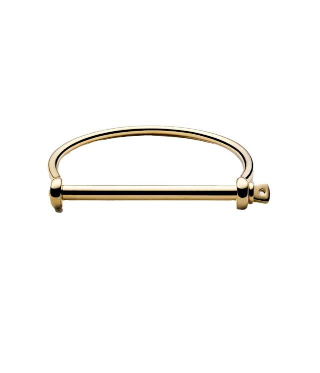 "<p>Thin Screw Cuff Bracelet in Gold, $195, <a href=""http://www.miansai.com/shop/womens/cuffs/thin-screw-cuff-bracelet-gold#featureslide"" rel=""nofollow noopener"" target=""_blank"" data-ylk=""slk:miansai.com"" class=""link rapid-noclick-resp"">miansai.com</a> </p>"