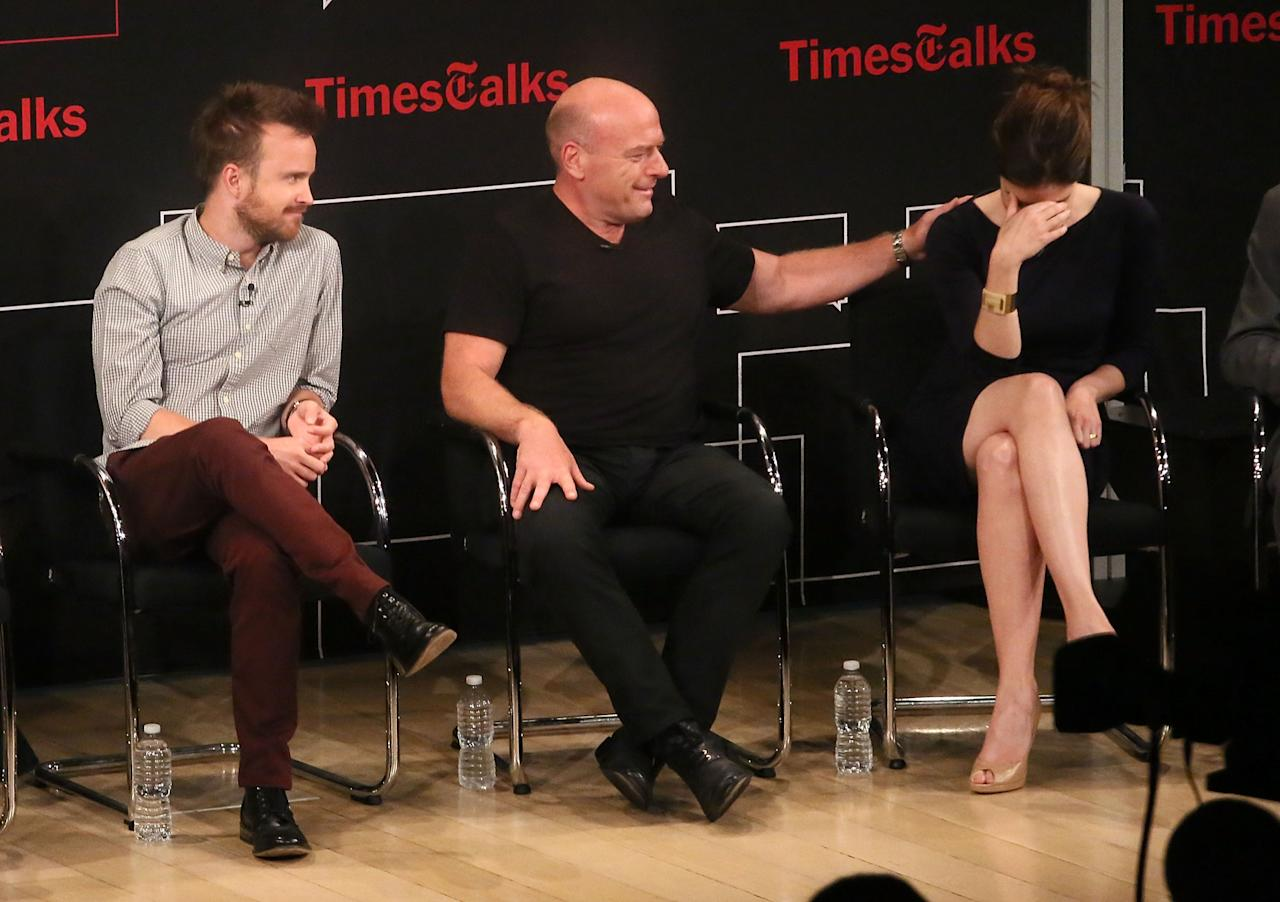 "NEW YORK, NY - JULY 30: (L-R) Aaron Paul, Dean Norris and Betsy Brandt attend TimesTalk Presents An Evening With ""Breaking Bad"" at Times Center on July 30, 2013 in New York City. (Photo by Astrid Stawiarz/Getty Images)"