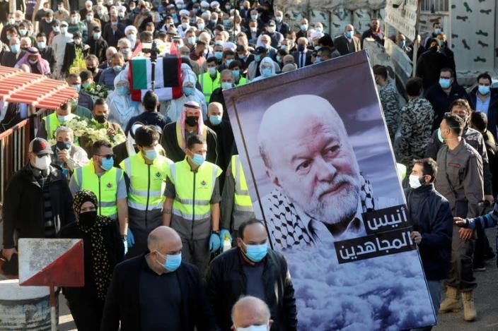 Funeral of former pro-Palestinian militant Anis Naccache, in Beirut suburbs