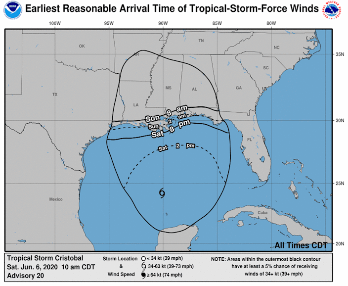 Tropical storm-force winds arrival times