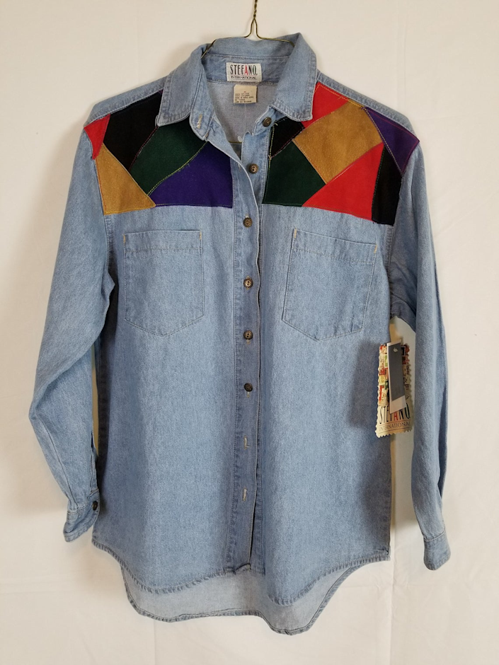 """<br><br><strong>vintagegrannypanties</strong> Vintage '80s Stefano Denim Shirt, $, available at <a href=""""https://go.skimresources.com/?id=30283X879131&url=https%3A%2F%2Fwww.etsy.com%2Flisting%2F681140579%2Fvintage-80s-stefano-denim-shirt-new-nwt%3Fga_order%3Dmost_relevant%26ga_search_type%3Dall%26ga_view_type%3Dgallery%26ga_search_query%3Dpatchwork%2Bdenim%2Bshirt%26ref%3Dsr_gallery-2-18%26organic_search_click%3D1%26pro%3D1"""" rel=""""nofollow noopener"""" target=""""_blank"""" data-ylk=""""slk:Etsy"""" class=""""link rapid-noclick-resp"""">Etsy</a>"""