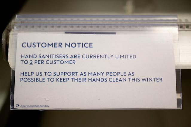 Empty shelves in a Boots chemist after the retailer ran out of hand sanitiser. (Matthew Horwood/Getty Images)