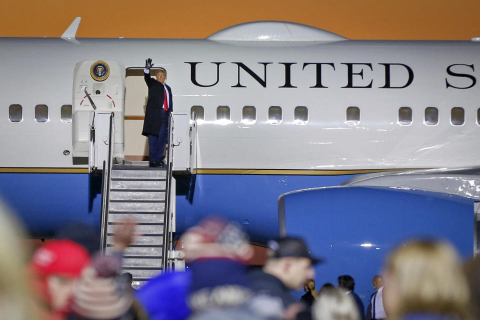President Donald Trump waves to supporters after speaking at a campaign rally Friday, Oct. 30, 2020, in Rochester, Minn. (AP Photo/Bruce Kluckhohn)