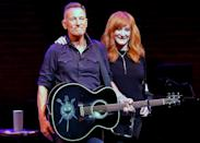 <p>Bruce Springsteen and Patti Scialfa share the stage on opening night of <em>Springsteen on Broadway</em> in New York City.</p>
