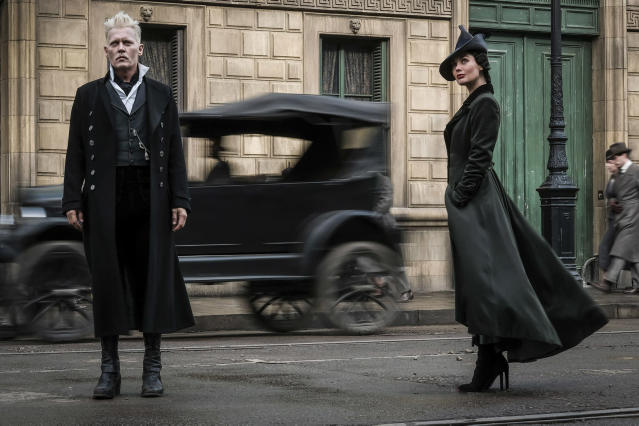 <p>But Gellert Grindelwald (Johnny Depp) has escaped custody and has set about gathering followers, most unsuspecting of his true agenda: to raise pure-blood wizards up to rule over all nonmagical beings. Vinda Rosier (Poppy Corby-Tuech) is one of Grindelwald's most trusted minions, a loyal servant to his cause and often at his side.<br> (Photo: Jaap Buitendijk/Warner Bros.) </p>