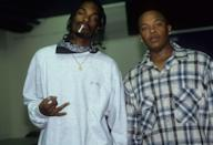 <p>Dr. Dre and Snoop Dogg backstage at the Source Awards at Madison Square Garden on August 3, 1995 in New York City.</p>
