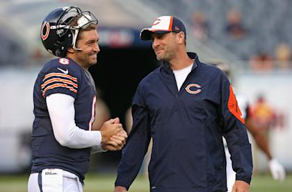 Smilin' Jay Cutler, potential top-5 QB at a dirt-cheap price. (Photo by Jonathan Daniel/Getty Images)