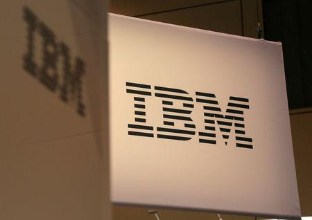 FILE PHOTO: The IBM logo displayed at the SIBOS banking and financial conference in Toronto