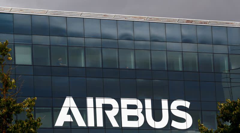FILE PHOTO: Airbus logo at the Airbus Defence and Space facility in Elancourt