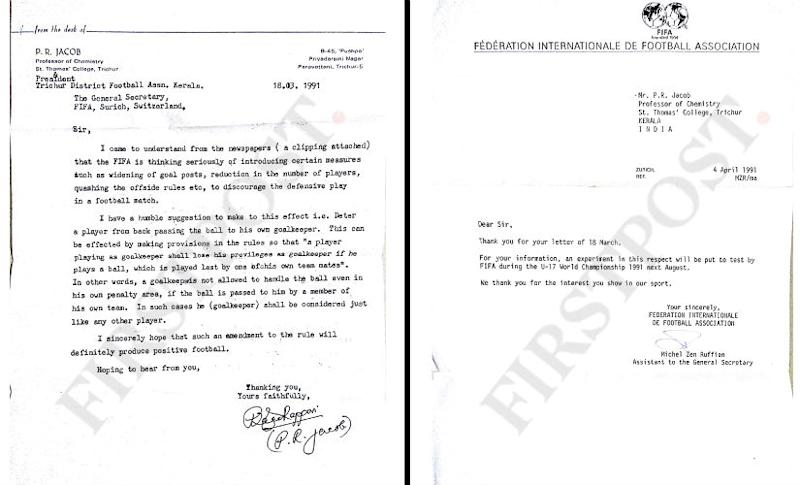 On the left: The letter sent by PR Jacob to FIFA. Right: The reply from FIFA.