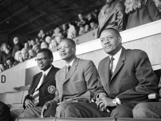Lucas Mangope (right) watches West Ham vs Leicester at Upton Park in 1971