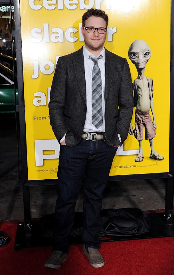 """<a href=""""http://movies.yahoo.com/movie/contributor/1804494942"""">Seth Rogen</a> attends the Los Angeles premiere of <a href=""""http://movies.yahoo.com/movie/1810097993/info"""">Paul</a> on March 14, 2011."""