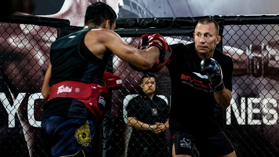 MMA great Georges St Pierre sparring at Evolve MMA Academy. (PHOTO: Evolve MMA)