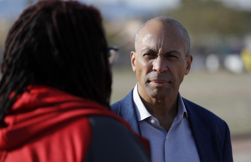 Democratic presidential candidate former Massachusetts Gov. Deval Patrick tours a community garden Tuesday, Dec. 17, 2019, in Las Vegas. (AP Photo/John Locher)