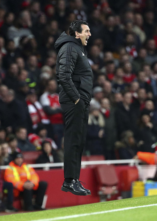 Arsenal manager Unai Emery on the touchline, during the English Premier League soccer match between Arsenal and Southampton, at the Emirates Stadium, in London, Saturday, Nov. 23, 2019. (Yui Mok/PA via AP)